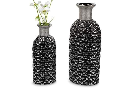 1 Stück Vase Flaschenvase 30cm Serie Premium Black mit Silber schwarzer Oberfläche