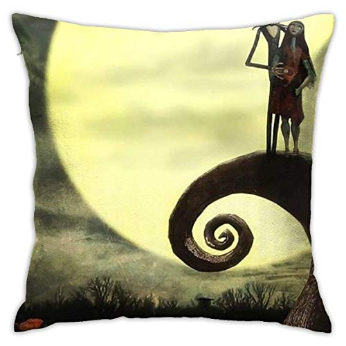 Gypsophila Pillow Cover Cushion Cover Jack and Sally in The Moon Nightmare Before Christmas Decorative Pillow Case Sofa Seat Car Pillowcase Soft 18x18 Inch
