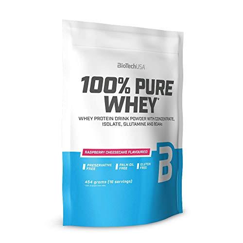 BioTechUSA 100% Pure Whey Complejo de proteína de suero, con aminoácidos añadidos y edulcorantes, sin conservantes, 454 g, Tarta de queso con frambuesas