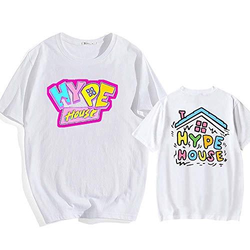 LYJNBB Pull T-Shirts LA Maison Hype Sweat-Shirt Unisexe, col Rond Manches Courtes Vidéo Fan Apparel Vêtements d'équipe,Blanc,S