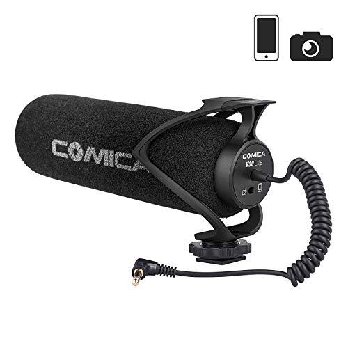 Comica CVM-V30 LITE Kamera Mikrofon Super-Kardioid Kondensator Video Mikrofon Richtmikrofon für Canon Nikon Sony Panasonic DSLR Camcorder Smartphone (Schwarz)