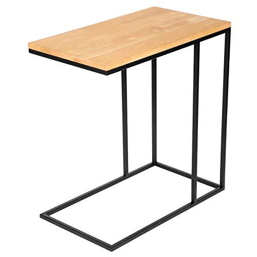 Mesa auxiliar de madera maciza de roble con estructura de metal