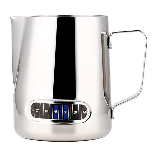 Brocca per latte, 600 ml, in acciaio inox, con termometro, per caffè, cappuccino, espresso, Latte Art