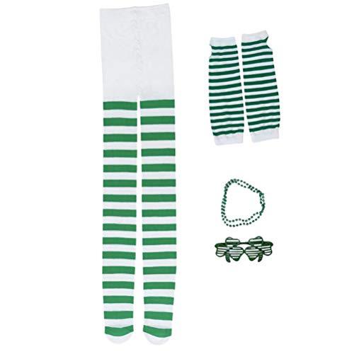 Amosfun St. Patrick's Day Kostüm Zubehör Gläser Halskette Leggings lange Handschuhe Irish Day Dekoration liefert 4 STÜCKE