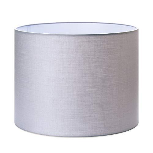 Stoff Lampenschirm Aufnahme E27 Textilschirm Tischlampe Stehlampe rund (grau, 40cm)