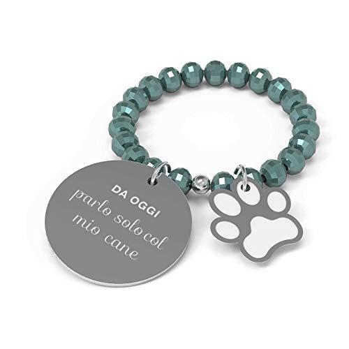 10 Buoni Propositi Anello Donna Parlo Solo col Mio Cane Collezione Crystal Silver (Emerald)