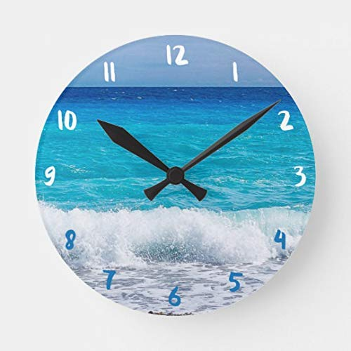 Simpson Rebecca Tropical Beach Turquoise Water Blue Ocean Sea Foam Wall Clock Decor for Bedroom Nursery Round Silent Wood Wall Clock Art for Kids Room 12 Inches