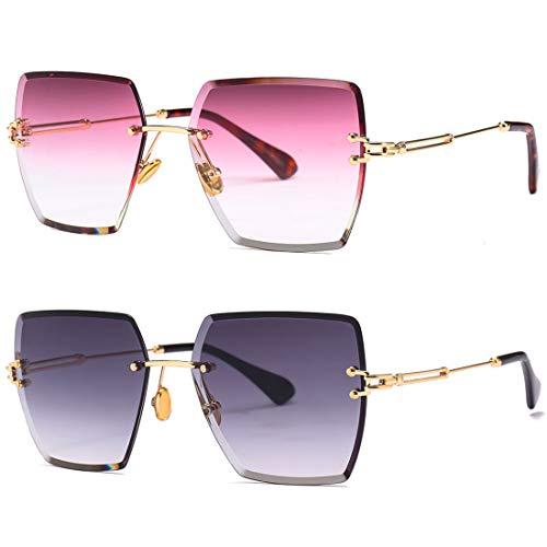 HFSKJ Paquete de 2 Gafas de Sol, Gafas de Sol cuadradas sin Montura, Gafas de Sol de Color Degradado, Gafas de Moda,B