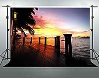 F-FUN SOUL 7x5フィート 海辺 コットン 背景 木 トレッスル サンセット 写真 背景 バケーション テーマ パーティー 写真 スタジオ 小道具 カーテン デコレーション LYFS440