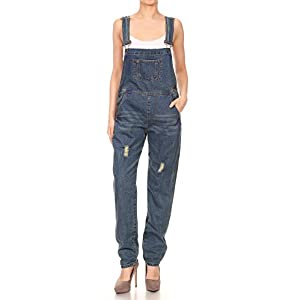 Women's Distressed Denim Overalls with Tapered Leg and Pockets