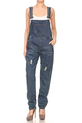 Women's Distressed Denim Overalls with Tapered Leg and Pockets 3