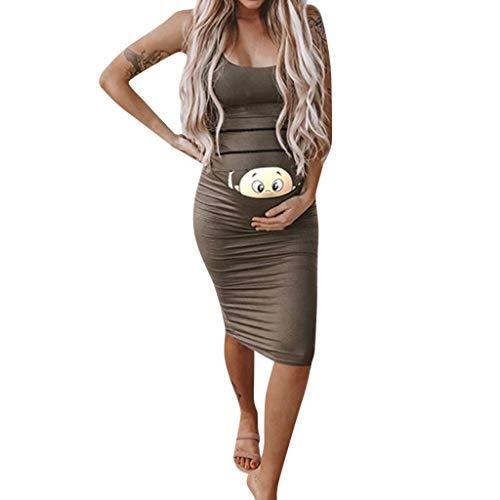 MEIbax Damenmode süßes Baby gedruckt schwangeren Sommer ärmelloses Umstandskleid Mutterschafts Kleid Umstands Maternity Kleid T-Shirt Kleid