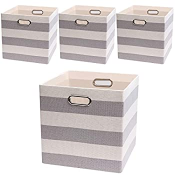 Storage Bins Storage Cubes 13×13 Fabric Storage Boxes Foldable Baskets Containers Drawers for Nurseries,Offices,Closets,Home Décor ,Set of 4 ,Grey-white Striped