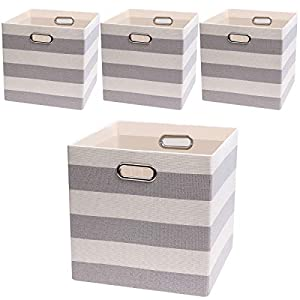 Posprica Storage Bins Storage Cubes, 13×13 Fabric Storage Boxes Foldable Baskets Containers Drawers for Nurseries,Offices,Closets,Home Décor,Set of 4,Grey-White Striped