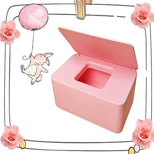 Feuchttücher-Box,Baby Feuchttücherbox,Tissue Aufbewahrungskoffer, für trockene und nasse Seidenpapier, Serviettenhalter, Feuchttücher, Spenderhalter mit Deckel für Zuhause und Büro (Rosa)