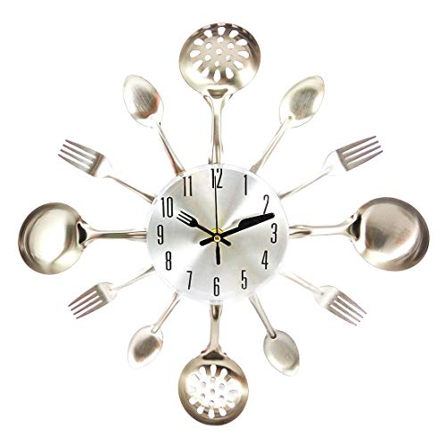 Reloj de pared 3D de Majz, de metal, con mecanismo silencioso, diseño de cubiertos, reloj de pared decorativo, 41,5 x 41,5 cm (plata)