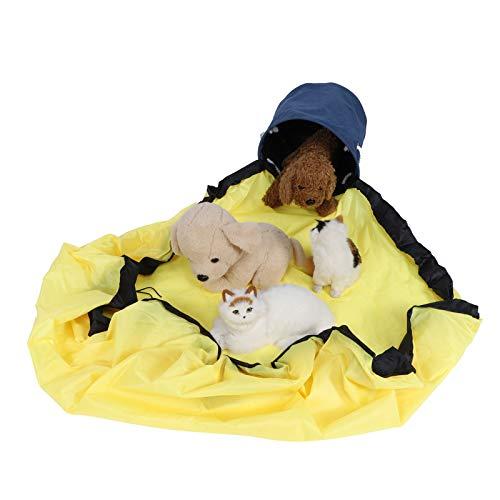 ZHHZ Cesta de almacenamiento de juguetes – Contenedor de almacenamiento para juegos portátil para niños, bolsa de almacenamiento de juguetes integrada, bolsa grande amarilla + cesta azul