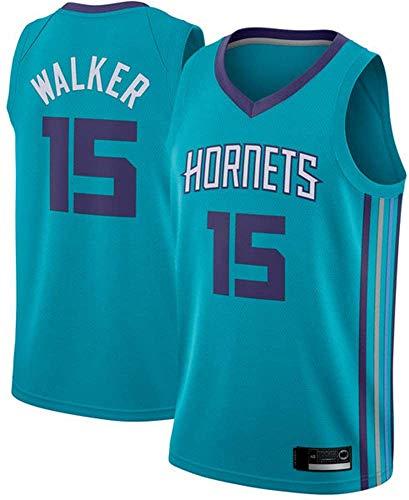 Camisetas De Baloncesto De La NBA - Charlotte Hornets NBA 15# Camisetas De Hombre De Kemba Walke - Camiseta Cómoda Unisex con Chaleco Deportivo De Baloncesto,M(170~175CM/65~75KG)