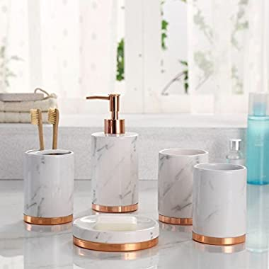 Marble Look with Rose Gold Trim 5 Piece Bathroom Accessory Set