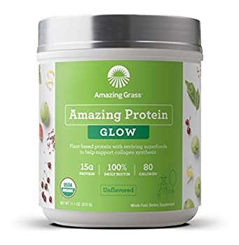 Amazing Grass GLOW Vegan Collagen Support with Biotin and Plant Based Protein Powder Unflavored 15 Servings