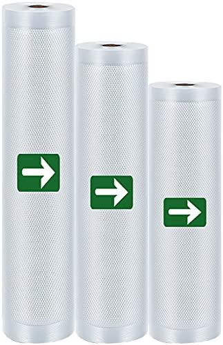 LAKIDAY Vakuumrollen 3 Rollen 20 x 300/25 x 300/28 x 300cm Vakuumierbeutel Folienrollen BPA-Frei für alle Vakuumierer, Stark & Reißfest Wiederverwendbar Vakuumbeutel