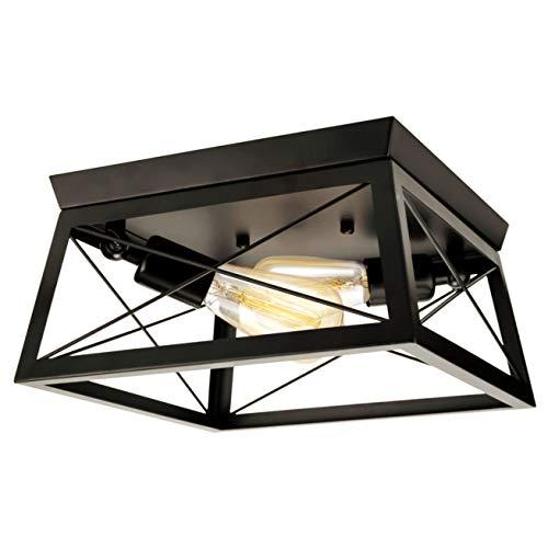 Industrielle Deckenlampe Schwarz Vintage Deckenleuchte Metall Lampenschirm Rechteckige 2- Flammige Landhausstil Lampe E27 Lampenfassung Beluchtung für Decke Wohnzimmer Schlafzimmer Küche Esstisch Cafe