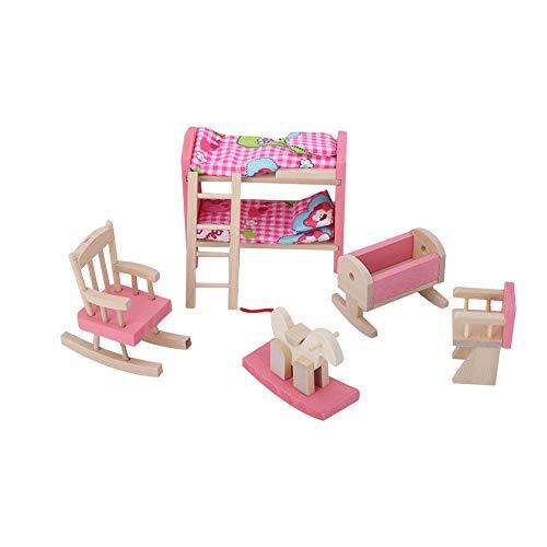 wosume Puppenhausmöbel, Mini lebensechte Simulation Holzmöbel Set für 1:12 Puppenhauszubehör Puppendekoration Zubehör Pretend Play Kids Toy(Children Bedroom)
