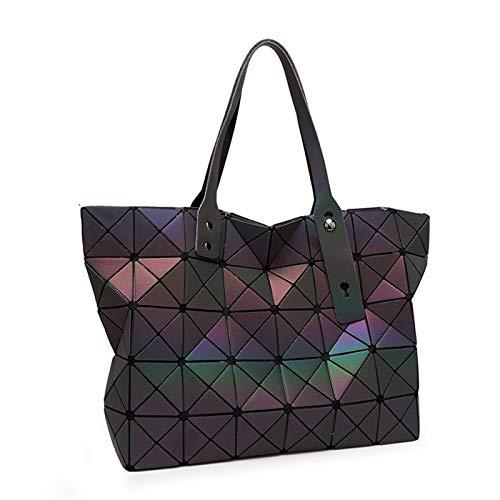 QXbecky Bolso de Hombro Bolso de geometría Luminosa Lady Variety Bolso Plegable de Hombro Bolso Grande 44x12x28cm