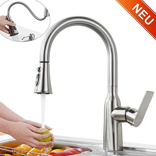 ARCORA Wasserhahn Küche Ausziehbar Küchenarmatur mit Brause Spültischarmatur Brausekopf 360° drehbar Einhebelmischer mit Geschirrbrause Edelstahl Nickel Gebürstet