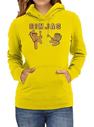 Shirt Happenz Gin Jas Weihnachten Christmas Nikolaus Silvester Neujahr Hoodie Frauen Kapuzenpullover, Größe:M, Farbe:Gelb