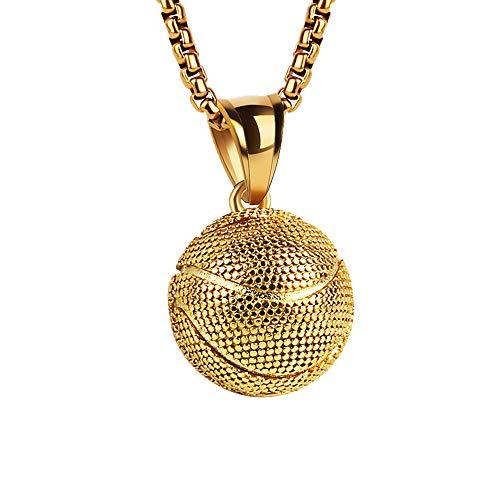 WANGLXTC Mode Herren Edelstahl Titan Stahl Basketball Herren Anhänger Exquisite Halskette (mit Geschenkbox) Exquisit, Gold Color