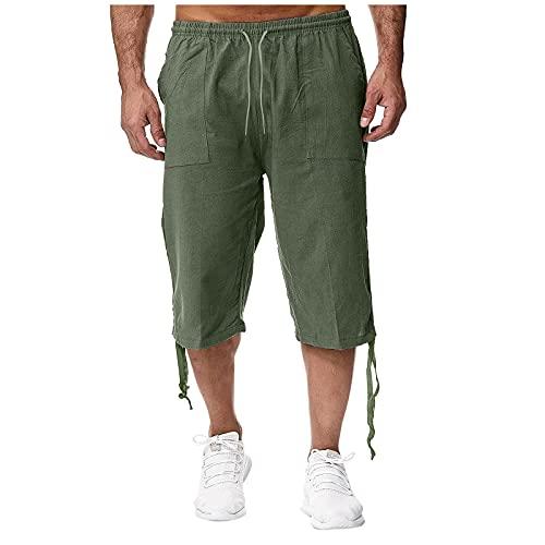 QRTU Pantalones de ocio, de lino, transpirables, sueltos, de algodón, transpirables, cómodos, pantalones de deporte, pantalones cortos de verano De color verde militar. XL