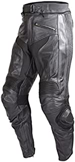 Wicked Stock Mens Motorcycle Race Leather Pants Black with CE Rated Armor and Sliders PT51 (L)