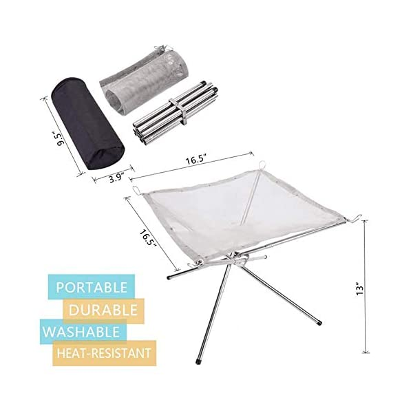 Fengstore Fire Pit, Portable Stainless Steel Mesh Fireplace Foldable Outdoor Heater Grill Camping for BBQ utdoor Patio