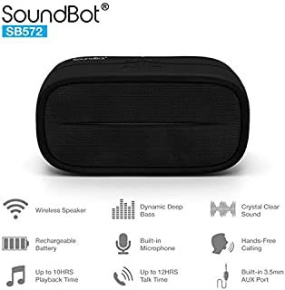 New SoundBot SB572 Bluetooth 4.1 Wireless Speaker for 8hrs Music Streaming and Hands-Free Calling, Premium Driver Passive Radiator Bass, Built-in Mic and Battery, 3.5mm Audio Port for Indoor Outdoor