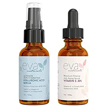 Eva Naturals Hydrate and Brighten Skincare Bundle - Includes Hyaluronic Acid Serum and 20% Vitamin C Serum - Restores Lost Moisture Plumps Skin while Toning and Smoothing the Complexion
