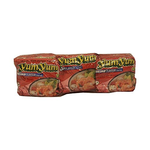 YumYum Instant Noodles Shrimp Flavour 'Tom Yum' 6 x 60g Packung (Instant Nudeln Garnelengeschmack)