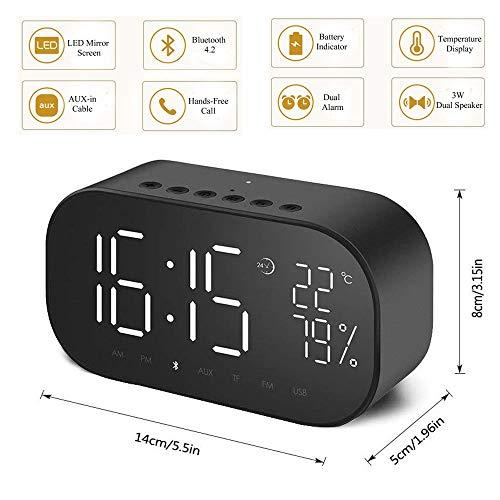 BNMMJ Reloj Despertador Led con FM Radio Wireless Bluetooth Altavoz Espejo Pantalla Soporte Aux TF USB Reproductor De MúSica InaláMbrico para La Oficina En Casa B