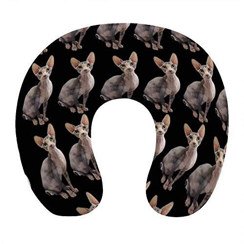 Almohada de Viaje de Espuma viscoelástica Suave, Almohada para el Cuello en Forma de U con Funda Lavable Que soporta el Cuello y Libera el Dolor, diseño Floral para Perros Brussels Griffon