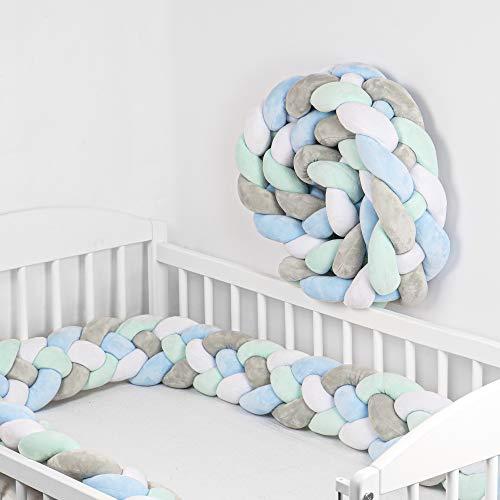 chichoneras cuna - Cama Bebé Trenzado Parachoques Cojín Protectores Para Cunas y Camas de Bebé blanco gris azul claro 220 cm