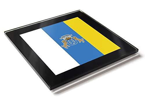 Posavasos con diseño de la bandera de las Islas Canarias en colores nacionales con caja de regalo