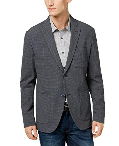 Michael Kors Mens Checked Two Button Blazer Jacket, Grey, 44 Regular