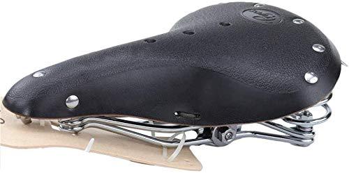 TentHome Vintage Fahrrad Sattel Fahrradsattel Leder Classic Ergonomischer Ledersattel gefederter Fahrradsitz mit Federung für Damen und Herren (Schwarz)