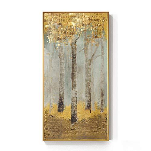 Abstrakte goldene Münzen Wald Leinwand Malerei Big Poster Print Mode Goldene Wandkunst Bild für Wohnzimmer Hd 70x140cm