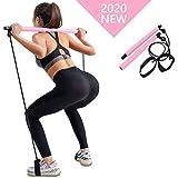 Kaufam Barra de Pilates portátil, Banda de Resistencia Barra de Ejercicios de Yoga Pilates Stick Bodybuilding Yoga con Lazo para los pies para Entrenamiento Corporal Total (Rosado)