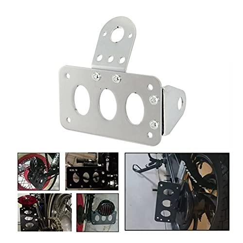 ZHANGWUNIU WUZ Store Chrome Motorcycle Side Mount License Plate Bracket Bobber Chopper Fit For Sportster Stop Light Cb750 Xs650 Tail Light (Color : Silver)