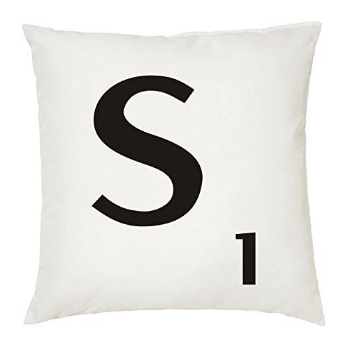 Cojines con la Letra S imitación fichas de Scrabble o apalabrados. Medida 45X45 cm. Color Blanco. Solo Funda