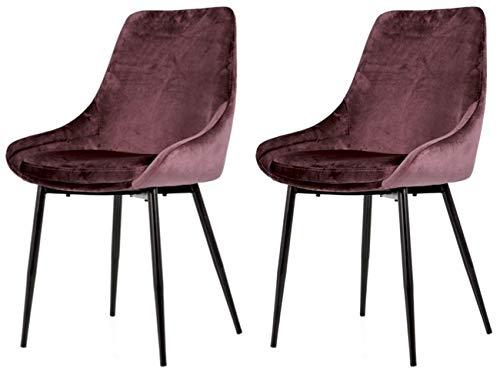 Tenzo LEX 3377-253 - Set di 2 sedie di design, in metallo, seduta in acciaio con schiuma Tessuto: 100% velluto, rosa/nero, 85 x 47,5 x 56 cm (A x L x P)