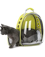 DoubleBlack Portador de Mascotas Mochila Transparente Perros y Gatos Portátiles Bolsa de Transporte al Aire Libre Diseño de Cápsula Transpirable Visitas Guiadas de 180 Grados - Amarillo