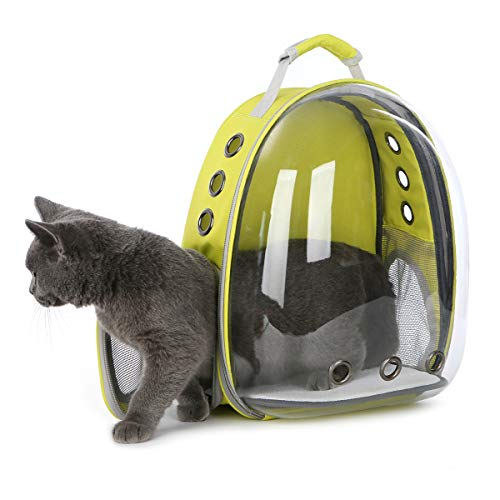 Doubleblack Pet Carrier Transparent Backpack Portable Dogs and Cats Outdoor Carrying Bag Breathable Capsule Design 180 Degree Sightseeing for Pets Travelling, Walking 40 * 20 * 30 CM - Yellow